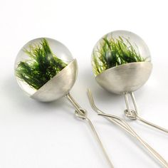 Silver Resin Earrings Moss Resin Earrings by sisicata on Etsy, $55.00