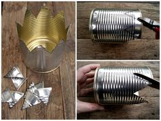 DIY - crown from tin- DIY – Krone aus Konservendose Make a crown out of a tin can - Tin Can Crafts, Metal Crafts, Diy And Crafts, Make A Crown, Diy Crown, Recycled Art Projects, Recycled Crafts, Tin Can Art, Recycled Tin Cans