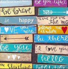 Hand-painted single piece wood signs made from pallet boards