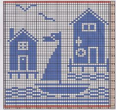 Potholder Sea Side 1 Muster von Regina Schoenfeldt - Knitted Dishcloths and Towels (Free Patterns only) - Filet Crochet Charts, Knitting Charts, Knitting Patterns, Crochet Patterns, Geek Cross Stitch, Cross Stitch Designs, Cross Stitch Patterns, Crochet Granny Square Afghan, Crochet Squares