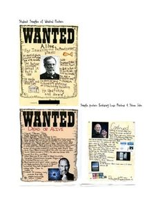 Scientist Wanted Poster Project - students research famous scientists and create wanted posters to display the information - a great way to combine science and writing!    This project includes:  -project handout sheet w/ instructions for students  -list of possible scientists you could assign  -graphic organizer  -rubric for assessment  -excellent student samples $1.50