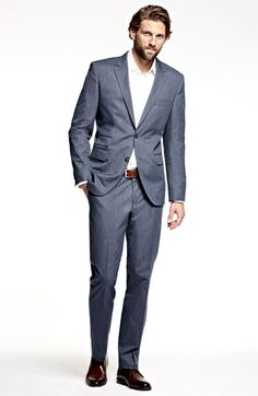BOSS Black 'Sweet Sharp' Blue Stripe Suit