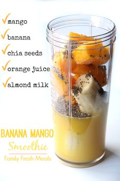 1 cup frozen mango ~ 1 large banana ~ 1 tbs chia seeds ~ 1/2 cup orange juice ~ 1/2 cup almond milk (or regular or coconut milk) ~ favourite optional add-in: 1-2 drops Orange or Lemon essential oil