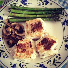 haddock, mushrooms and green asparragus!