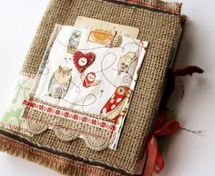coffee bag journal by rebecca sower Kunstjournal Inspiration, Art Journal Inspiration, Creative Inspiration, Owl Fabric, Fabric Art, Journal Covers, Book Journal, Altered Books, Altered Art