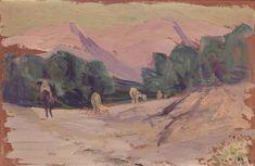 Ernesto Schiess |Landschaft mit Schafen und Esel, um 1924| Painting, Art, Switzerland, Donkey, Sheep, Scenery, Art Production, Painting Art, Art Background
