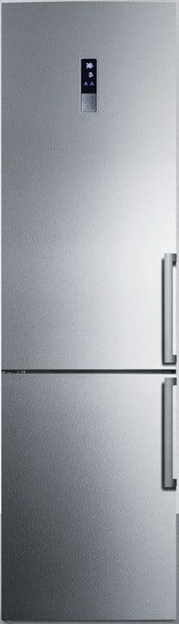 Summit FFBF191SSIMLHD 24 Inch Counter Depth Bottom-Freezer Refrigerator with Frost-Free Operation, ENERGY STAR, Digital Thermostat, Adjustable Glass Shelving, 13.3 cu. ft. Capacity, 2 Pull-Out Storage Drawers, 4 Door Bins and LED Lighting: Ice Maker, Left Hinge