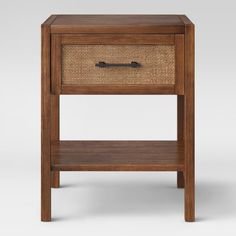 Warwick Wood & Rattan Accent Table - Threshold , Size: Assembly Required - Online Only, Brown End Tables With Drawers, Rattan Side Table, Mesh Panel, Wood Veneer, Rectangle Shape, Wooden Frames, Simple Designs, Solid Wood, Living Spaces