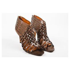 Pre-Owned Givenchy Brown Leather Woven Open Toe Heeled Sandal Booties... ($195) ❤ liked on Polyvore featuring shoes, sandals, brown, givenchy sandals, brown shoes, brown high heel sandals, leather shoes and brown sandals