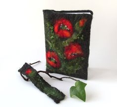 Felted journal notebook cover  Red Poppy flower Grey gift under 25. $24.00, via Etsy. #journal #cover #felted  #felt