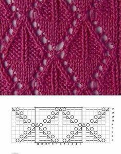 Knitting pattern ❤ Узор спицами ❤ strickmuster ❤ tricot ❤ how to knit ❤ tricô ❤ örgü deseni बुनना Lace Knitting Stitches, Lace Knitting Patterns, Knitting Charts, Easy Knitting, Stitch Patterns, Bobbin Lace Patterns, Drops Design, Gilet Crochet, Knitting Projects
