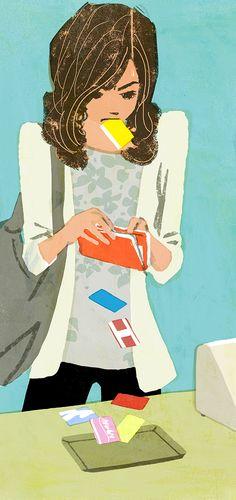 CREA essay series illustration by Tatsuro Kiuchi