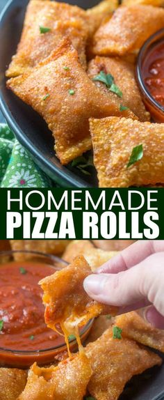 Like your childhood favorites these Homemade Pizza Rolls are stuffed with pepperoni, cheese and pizza sauce. Making these hand-held treats a fun weekday snack. pizzarolls pizza cheese pepperoni kidfriendly snacks via 448600812880833931 Finger Food Appetizers, Appetizer Recipes, Snack Recipes, Cooking Recipes, Pizza Recipes, Skillet Recipes, Cooking Gadgets, Pizza Appetizers, Cupcake Recipes