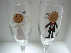 This set of handpainted, dishwasher safe bride and groom champagne flutes would be the perfect wedding gift for any couple or would be perfect for your own wedding. Have the bride and groom's name and the wedding date added at no additional cost. Not a champagne drinker? This design can be painted on on the rocks, martini, wine glasses, beer mugs or pilsners.