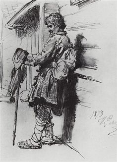 A beggar with a bag, 1879 by Ilya Repin. Realism. sketch and study