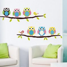 New Colorful Owl On Tree Wall Decal Sticker Home Decor Vinyl Art Kids Room