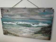 "Beach scene on wood. If this could be done much larger to make a headboard.......I would  lay on the ""beach"" all day."
