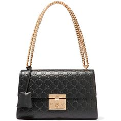 Gucci Padlock medium embossed leather shoulder bag ($2,280) ❤ liked on Polyvore featuring bags, handbags, shoulder bags, gucci, black, vintage leather shoulder bag, embossed leather handbag, leather purse, vintage handbags and gucci purses
