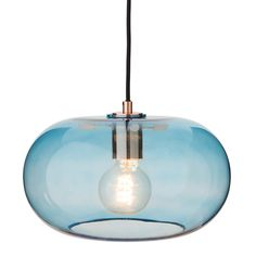Louns lamp: curved, Danish designed glass pendant, channelling a 1960s feel.