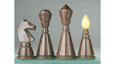 Reproduction Antique Chess Set Golden Rose Wood Pieces