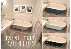 Inspiration for how to paint the vintage bathtub that you want someday [via @MrsLimestone {Brooklyn Limestone} for MyColortopia.com]