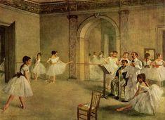 """Degas- Su fascinación con el movimiento mostraba sus pinturas, más que como una escena, como un vistazo """"distraído"""" a la realidad, convirtiéndolo en un pintor histórico de su propia época. Uno de los estudios más reflejado en sus pinturas es aquel de la presentación de una persona a través de su fisionomía,"""