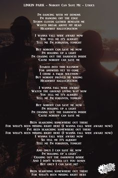 Nobody Can Save me - One More Light - Linkin Park - Lyrics