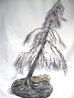 Copper wire tree - Bonsai style  - Art sculpture - natural rock - recycled material - Wabi sabi - Shakan