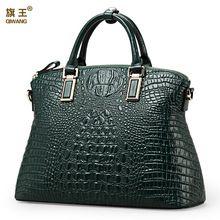 Qiwang hot selling fashion ladies100 geniune leather green crocodile tote women  bag Gold hardware women tote 696cff236b54f