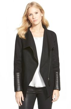 Mackage Leather Trim Wide Collar Wool Blend Jacket available at #Nordstrom