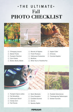 The ultimate Fall photography checklist. Any excuse for apple cider!