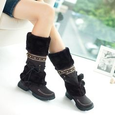 Knee High - Black fashion winter warm snow boots