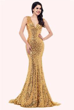 blueandgoldpromspirit Sparkly Mermaid V Neck Sleeveless Corset Gold Sequin  Prom Dress Gold Prom Dresses 0db86ec30baf