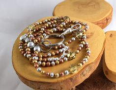 Mixed Metals handcrafted seed bead and crystal by OklahomaMama
