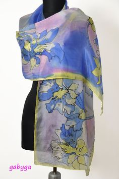 Hand Painted silk scarf/Flowers on silk/Hand painted by GABYGA