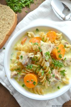 Better-Than-Anything Creamy Chicken Noodle Soup | wholeandheavenlyoven.com