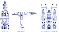Monochrome, Monuments, Ligne Claire, Illustrations, Architecture, Nantes France, Manon, Wallpaper, Graphic Design