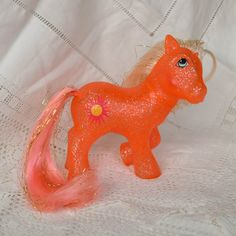 Vintage My Little Pony 'SunSpot' Glittery Orange Smiling Sun Gold Tinsel - G1 - 1984 - Rare - MLP - Party - Birthday Pony - Miss Print by TeaJay, Vintage  Toy  Animal  My Little Pony  MLP  G1  UK  1984  Orange  Cherries  Variant  Sunspot  Factory Error Glitter  Sparkle Pony  Miss print