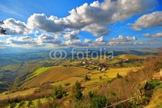 Beautiful horizont view from the medieval town of Ripatransone with nature and sky background