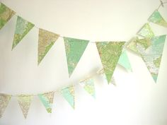 Atlas Bunting-Upcycled Map Bunting-Photo by youngheartslove