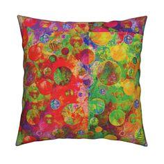 Catalan Throw Pillow featuring CRAZY MOON BALLOONS BUBBLES A 8 SMALL PANELS…