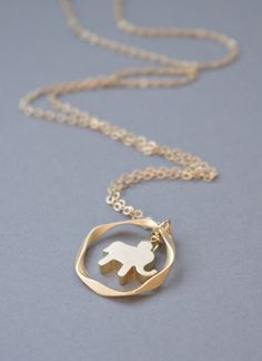 Tiny Matte Elephant and Twisted Hoop Necklace