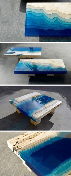 New Marble and Resin Lagoon Coffee Tables by Alexandre Chapelin