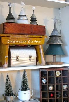 Rustic Funnel Christmas Trees www.organizedclut...