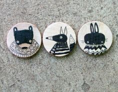 Set of Three Hand Drawn Whimsical Animal Magnets, Original Art by Andrea Doss