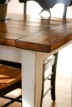 Attractive Wood Table Top With White Painted Legs... Do Same With Chairs (white