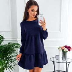 64cac429c51a9 Autumn And Winter Fashion Long Sleeve Dresses Blue Pink Armygreen Womens  Clothing Sexy Dress