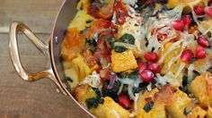 Make this kale and sun-dried tomato strata recipe from Kitchen Vignettes. It's a savory bread pudding for a festive breakfast.