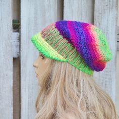 Peaked Cap Crochet  Beanie Slouchy Women Rainbow Women by Degra2