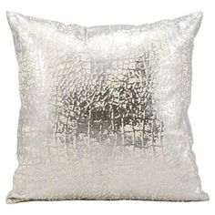 Add a lovely touch to your master suite or living room with this eye-catching pillow, showcasing a foil-print motif in silver.  Prod...